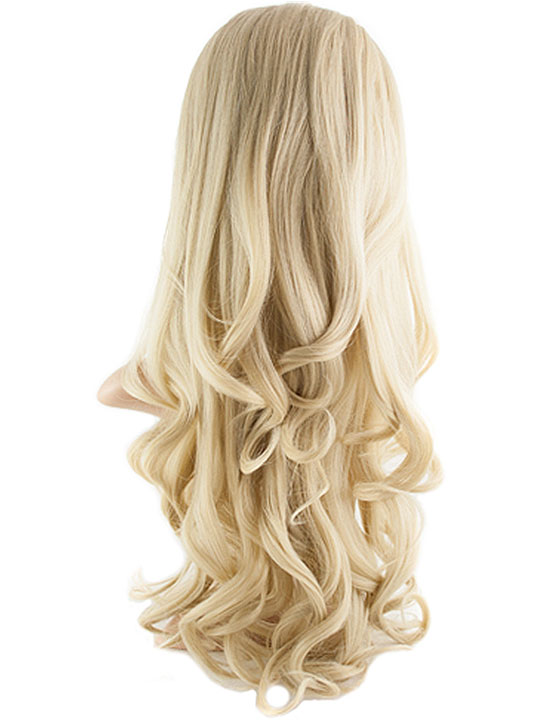 Lovely Eva Long Curly Half Head Wig In Light Golden Blonde Images