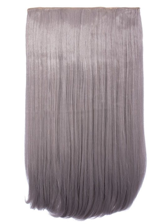 Lorna - 1- Piece Straight Hair Extensions In Silver Gray  3ad5a799b