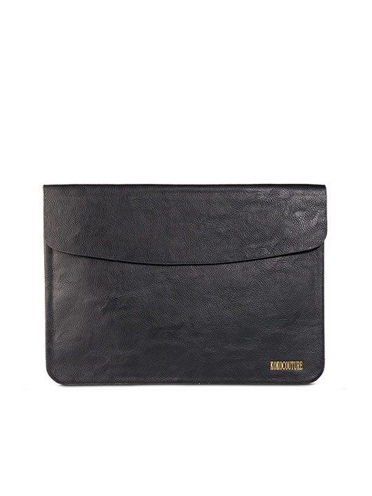 Black Faux Leather Document Envelope