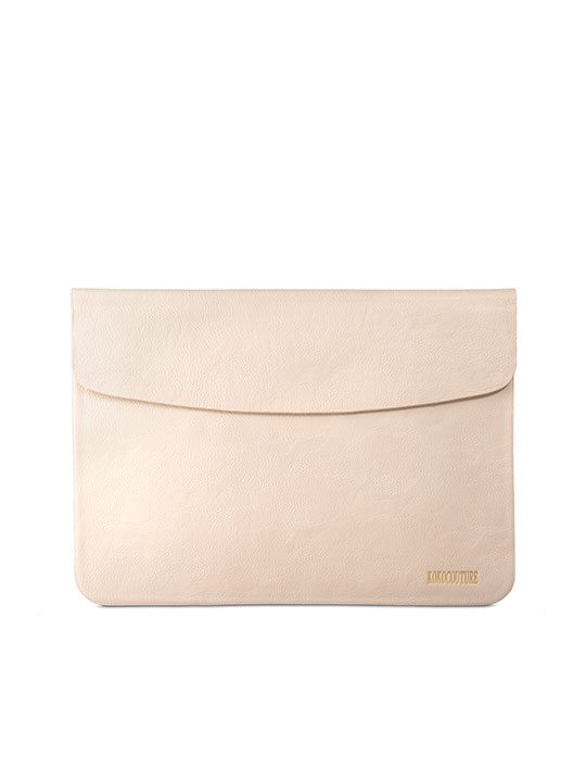 Beige Faux Leather Document Envelope