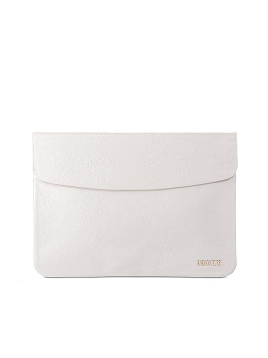 White Faux Leather Document Envelope