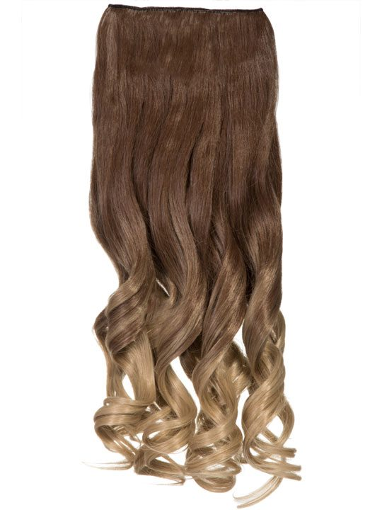Dip Dye Curly One Piece Hair Extensions In Tanned Brown To Bleach