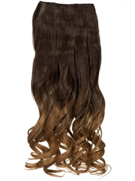 Dip Dye Curly One Piece Hair Extensions In Chocolate Brown To Ginger