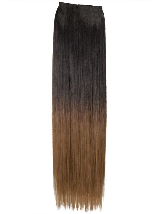 Dip Dye One Piece Straight Hair Extensions In Dark Brown To Ginger