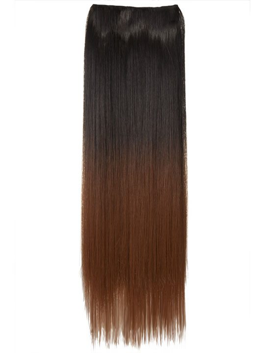 Dip Dye One Piece Straight Hair Extensions In Dark Brown To Copper