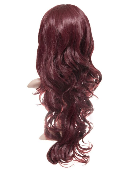 Wine Red Long Curly Party Wig