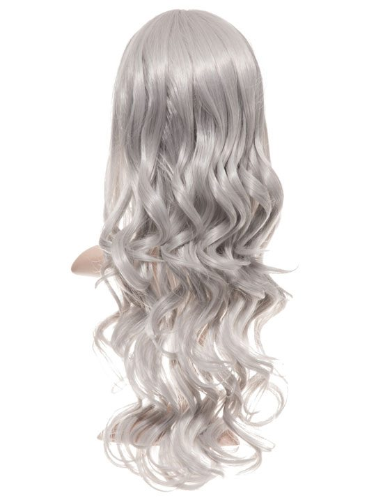 Silver Grey Long Curly Party Wig
