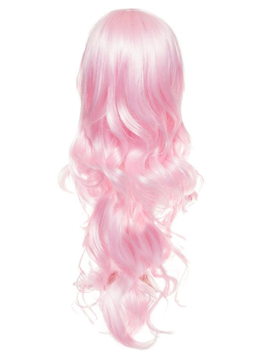 Baby Pink Long Curly Party Wig