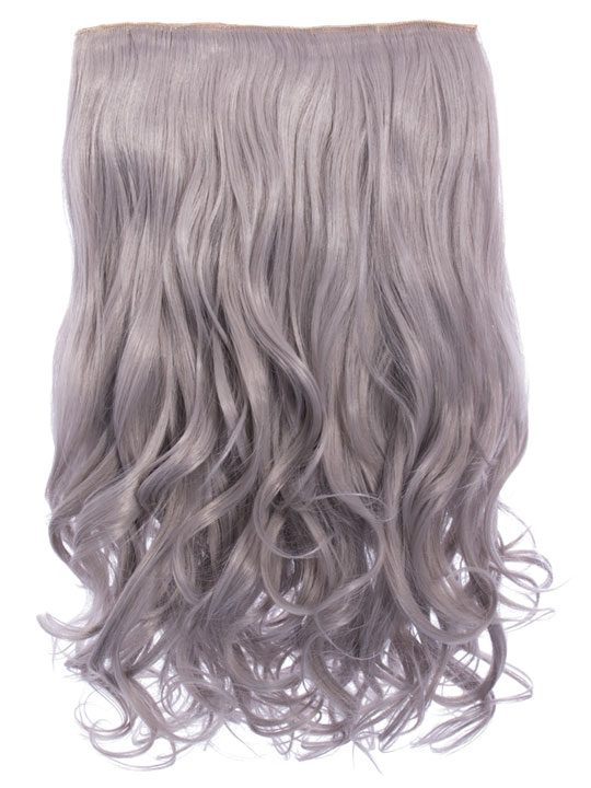 Selena 1 Weft Curly 20 Hair Extensions In Silver Grey Koko Couture