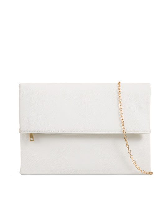 White Faux Leather Clutch Bag