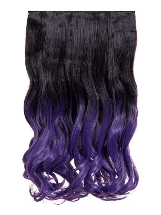 Dip Dye Curly One Piece Hair Extensions In Natural Black To Purple