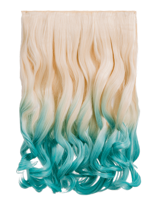 Dip Dye Curly One Piece Hair Extensions In Pure Blonde To Lagoon