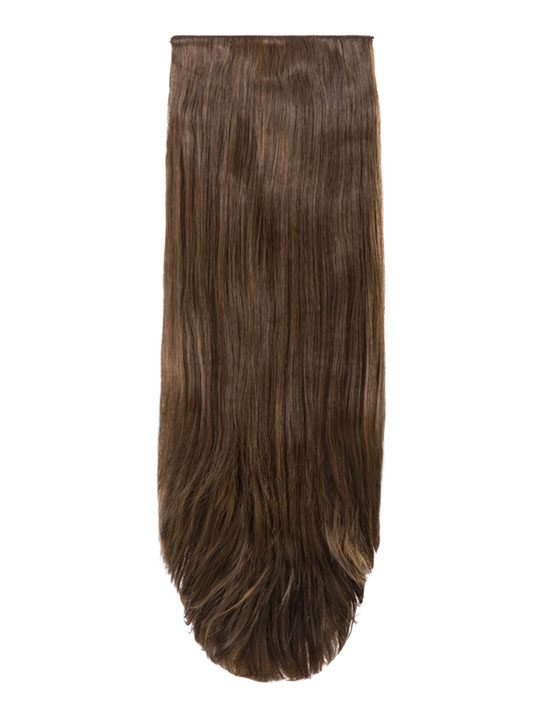Abigail 8 Weft Straight Hair Extensions In Dark Brown And Caramel