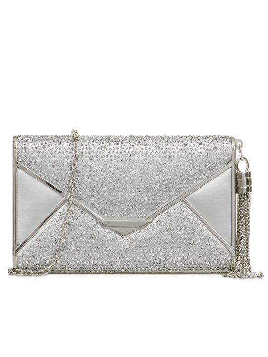 Front of Satin Clutch Bag Silver