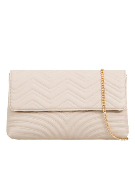 Front of Soft Faux Leather Clutch Bag Beige