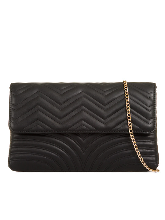 Front of Soft Faux Leather Clutch Bag Black