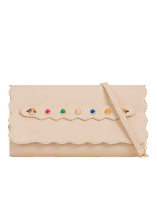 front of studded clutch bag beige