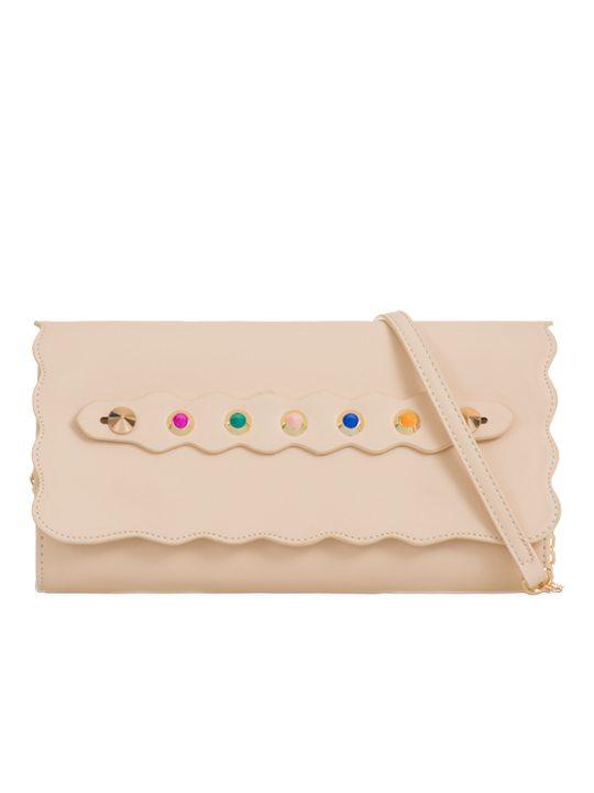 front of studded clutch bag beige