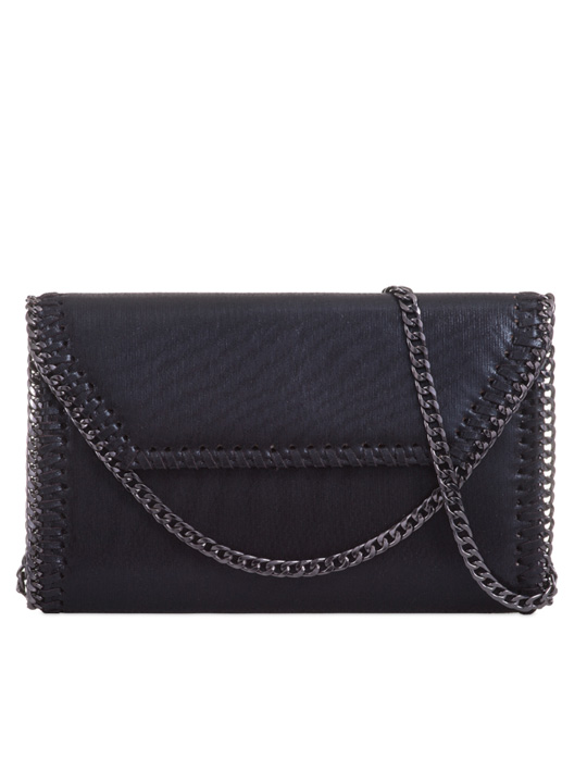 Front of Metallic Clutch Bag Black