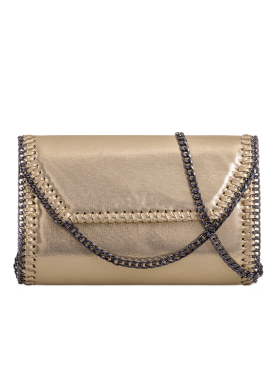 Front of Alison Metallic Clutch Bag Gold