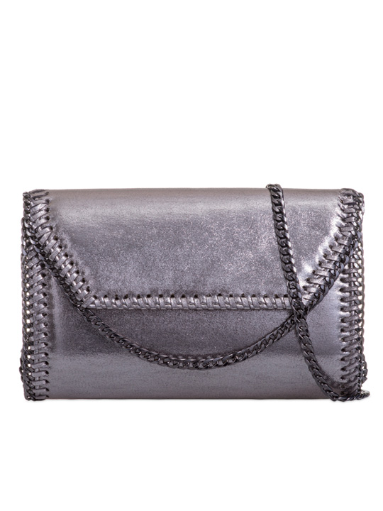 front of metallic clutch bag grey