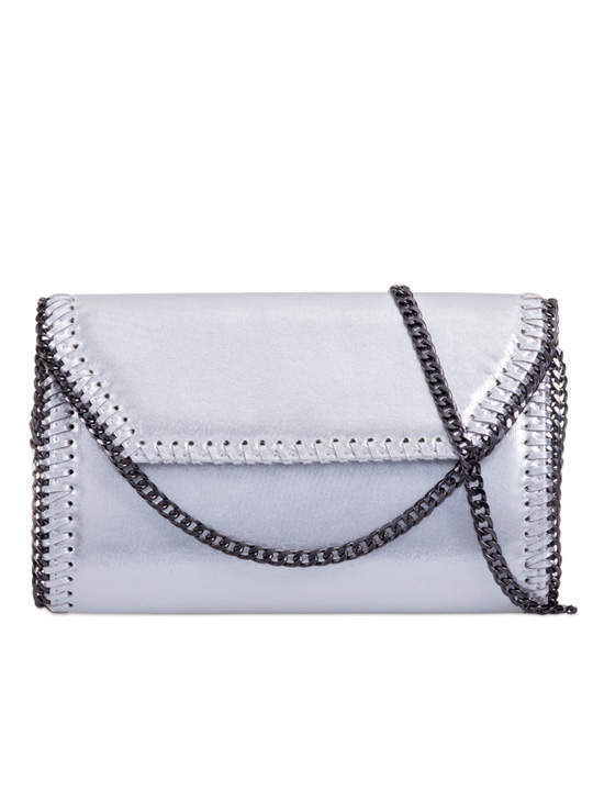 Silver Chain Detailed Glitter Clutch Bag