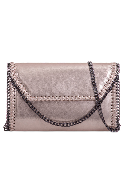 front of metallic clutch bag champagne