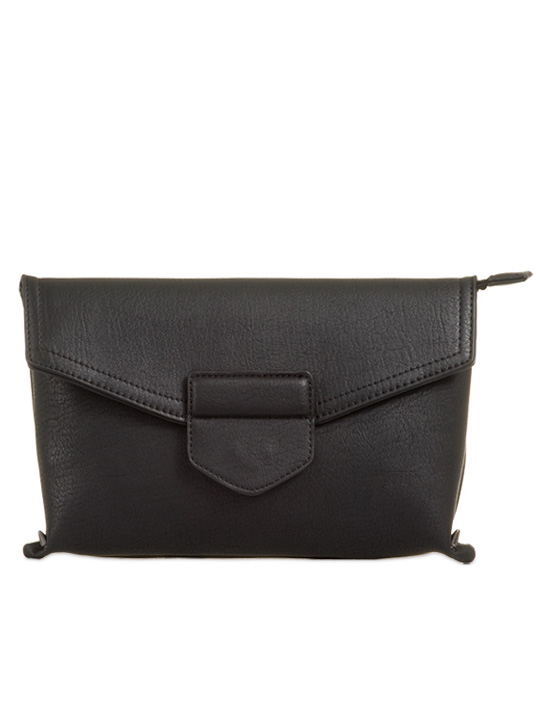 front of envelope clutch black