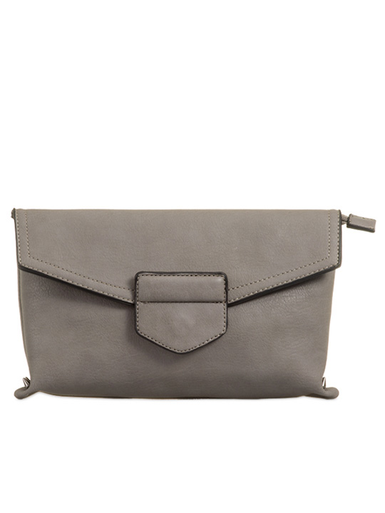 front of envelope clutch grey