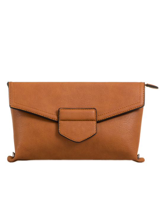 front of envelope clutch tan
