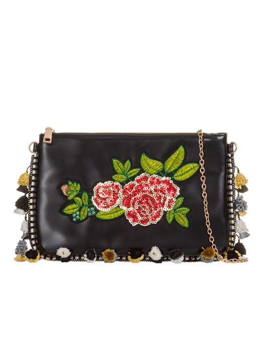 the front of Rose Embroidered Pom Pom Clutch Bag