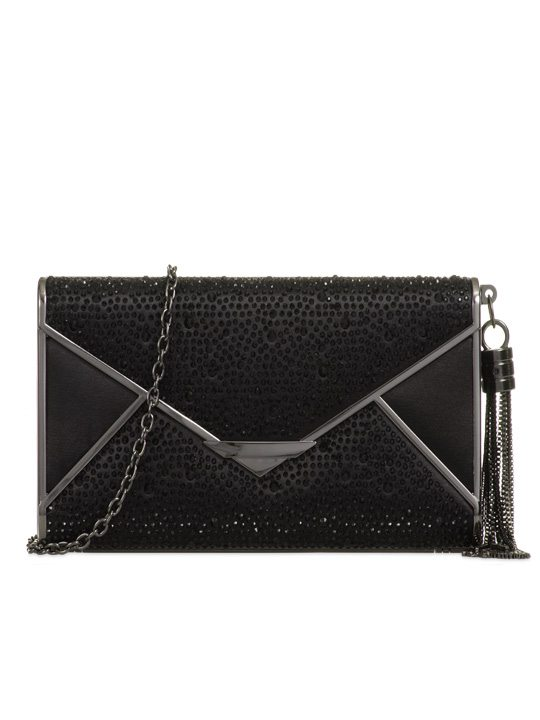 Front of satin clutch bag black