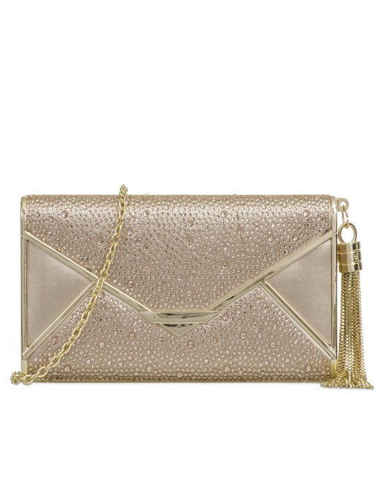 Front of satin clutch bag champagne