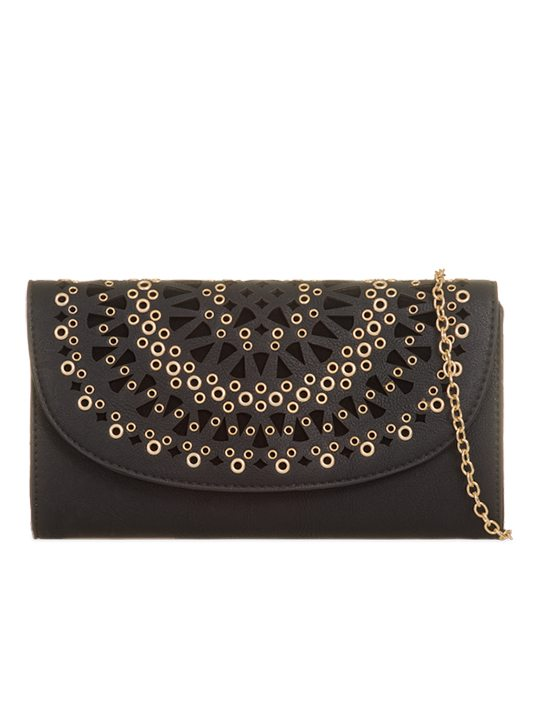 Front of Faux Leather Clutch Bag Black