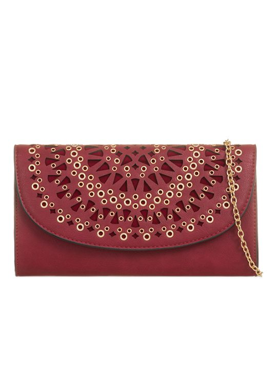 Front of Gold Detailed Maroon Clutch Bag