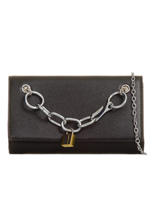 Faux Leather Black Clutch Bag