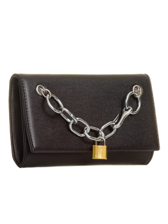 Faux Leather Black Clutch Bag side