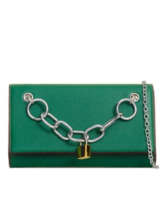 Front of Chain Detailed Clutch Bag Green