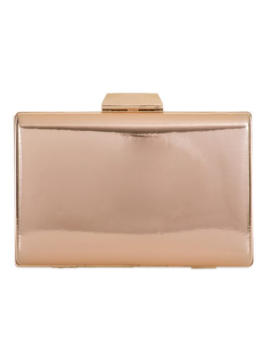Front of Shiny Clutch Bag Rose Gold