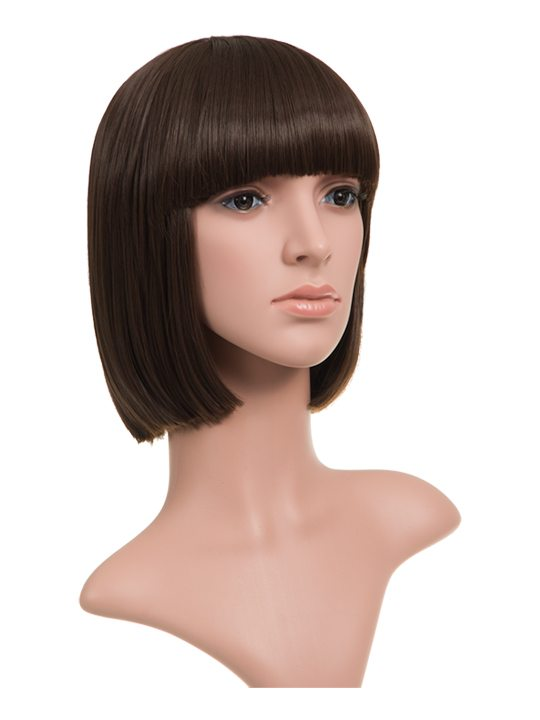 Chocolate Brown Classic Bob Full Head Wig