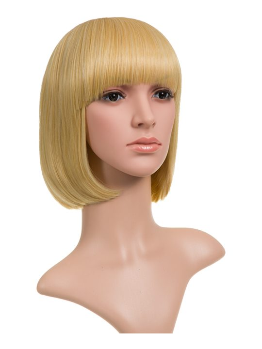 Bob Full Head Wig Golden Blonde displayed on mannequin. Front view.
