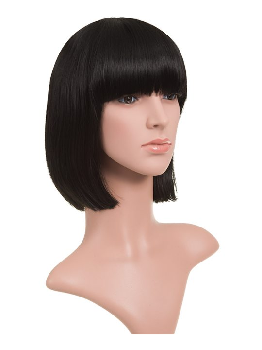 Natural Black Classic Bob Full Head Wig