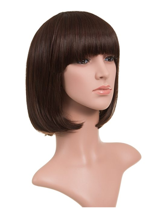 Classic Bob Full Head Wig Black Cherry on mannequin
