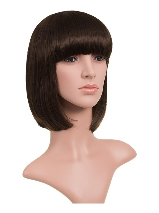 Dark Brown Classic Bob Full Head Wig