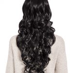 curly full head wig jet black