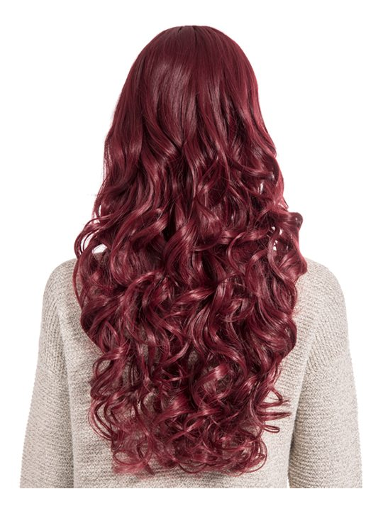 Curly Full Head Wig Burgundy, full view from back.