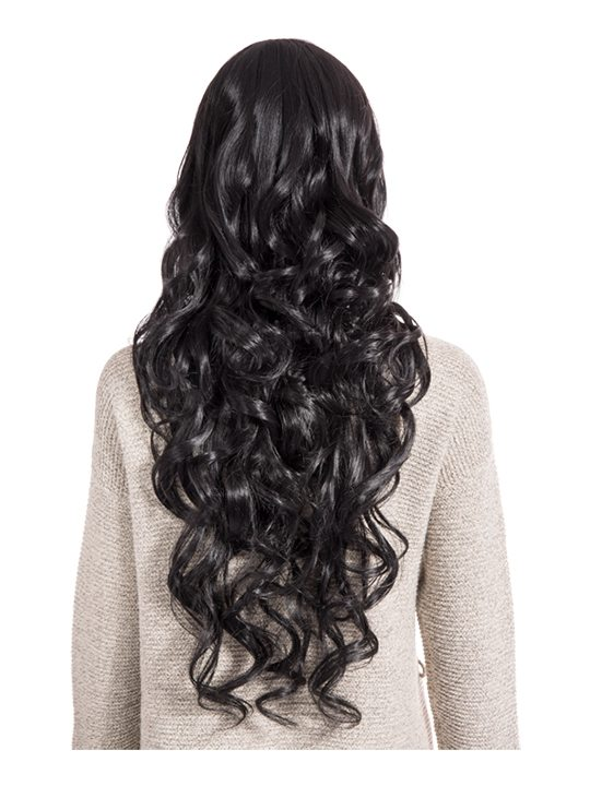 Curly Full Head Wig Natural Black from behind