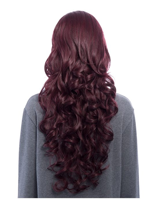 Curly Full Head Wig Black and Burgundy from behind, full length view.