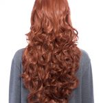 Curly Full Head Wig Copper Red on mannequin, full display from behind.