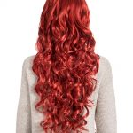 Curly Full Head Wig Poppy Red. Full display from behind.